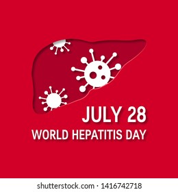 World hepatitis day concept. Design for posters, web banners, infographics etc. in paper cut style, vector illustration