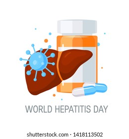 World hepatitis day concept. Design with medicine for posters, web banners, infographics etc. in flat style, vector illustration