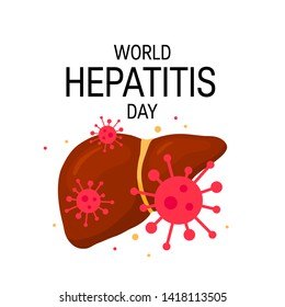 World hepatitis day concept. Design for posters, web banners, infographics etc. in flat style, vector illustration