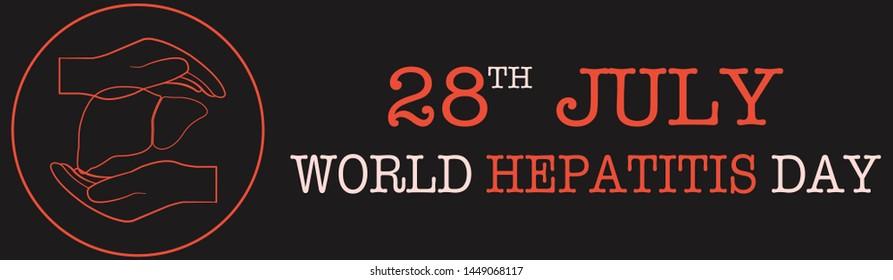World Hepatitis Day - Poster or Banner. Hands holding liver icon. Dark background.