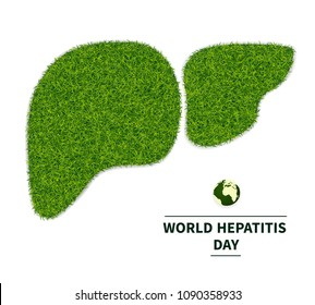 World Hepatitis Day. Symbol of a healthy liver, from a green grass. personifies the health of the body. Ecology in the fight against hepatitis. Isolated on white background, with text, vector