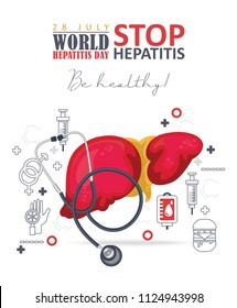 World hepatitis day vector poster in modern flat design on white background. 28 July
