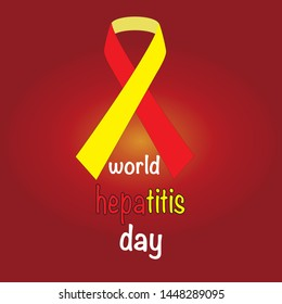 World Hepatitis Day. Yellow-red ribbon. Vector illustration.
