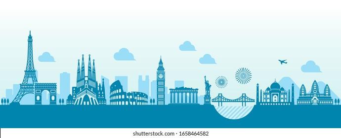 World heritage / famous landmark buildings vector illustration ( side by side )