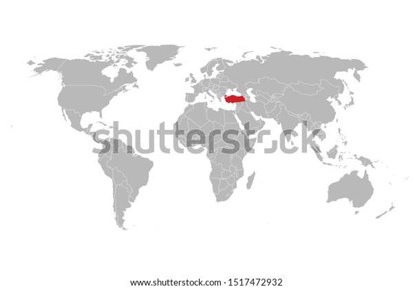 World Highlighted Red Turkey Map Vector Stock Vector ...