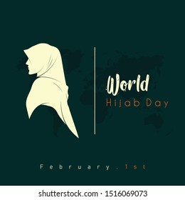 World Hijab day on february 1, hijab girl women head cover look from side, vector logo design template