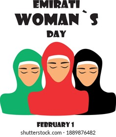 World Hijab day on february 1 international day celebration and greeting design. Hijab muslim women headcover  Meaning is euphemistic. Logo, concept, sticker, card. Muslim dress. Emirati woman. Vector