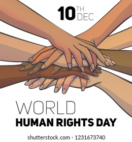 World human rights day concept background. Cartoon illustration of world human rights day vector concept background for web design
