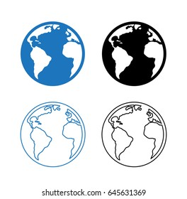World icon in flat and linear style. Blue and black sign of earth. Round pictogram