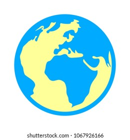 world icon - globe earth illustration, world map symbol