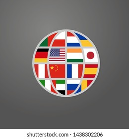 world icon with main languages flags