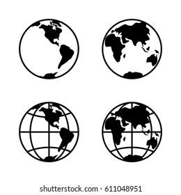 World icon set on white background, 2 hemispheres. Vector
