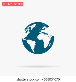 World Icon Vector. Flat simple Blue pictogram on white background. Illustration symbol with shadow