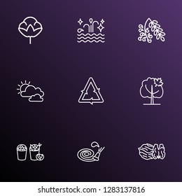 World icons line style set with harvest, walnut, cotton flower and other hosepipe elements. Isolated vector illustration world icons.