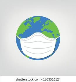 Weltgrafik mit Maske - Erde trägt Gesichtsmaske