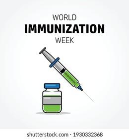 World immunization week concept design. Syringe vector illustration. April event. Good for campaign, poster.