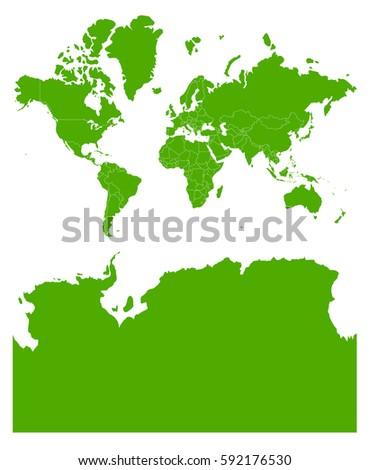 Kashmir On World Map.World Kashmir Antarctica Low Green Map Stock Vector Royalty Free