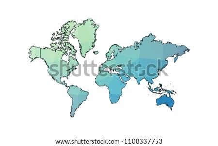 Kashmir On World Map.World Kashmir City Map Polygonal Map Made Stock Vector Royalty Free