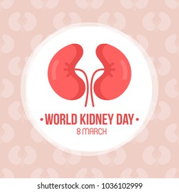 World kidney day card, vector illustration with cute cartoon couple of kidneys.