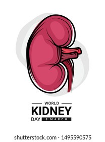 world kidney day with red human kidney outline Drawing sign vector design