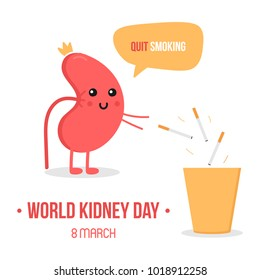 World kidney day vector illustration with cute cartoon kidney character, giving advice to quit smoking and throwing away cigarettes.