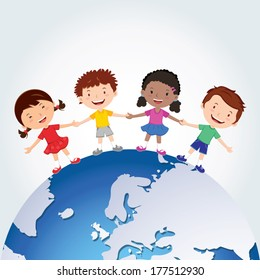 World kids. International friendship day! Vector illustration of diverse Children Holding Hands around the planet.