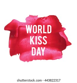 World Kiss Day holiday, celebration, lettering, text written on painted background illustration