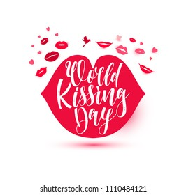 World Kissing Day lettering in lips. Template for card, poster, print.