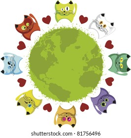 World kittens. Globe surrounded by colorful kittens and hearts.