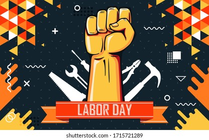 World labor day banner design with labour tools and hand fist. Abstract modern geometric background with yellow orange theme. 1st May solidarity with laborers and rights of work force.