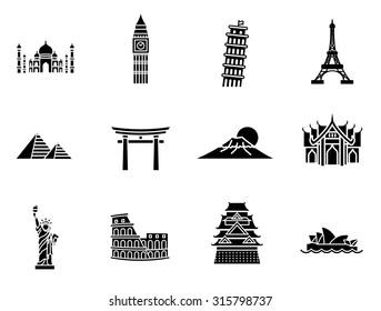 World Landmark Glyph Vector Icon Set