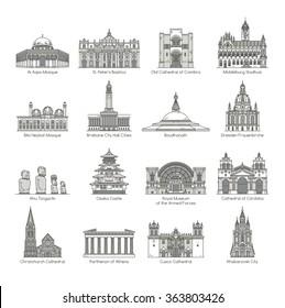 World Landmark Icon Set , eps10 vector format
