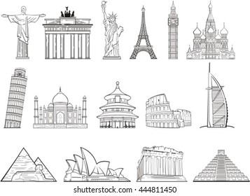 world landmark set