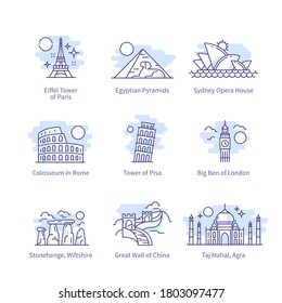 World landmarks. China, Australia, Europe, London, Sydney, Paris, Egypt, Italy, Africa, Pisa, Rome travel destinations thin line icons set. Famous buildings sights isolated linear vector illustrations