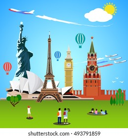 World landmarks concept. Vector illustration for travel design. People tourists