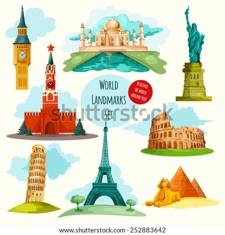 World landmarks decorative icons