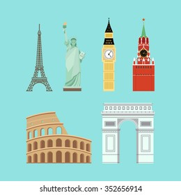 World Landmarks: Eiffel tower, Big Ben, Coliseum, Arc de Triomphe, the Kremlin,  Statue of Liberty. Icons set in flat style. Isolated.