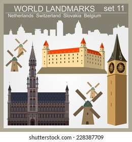 World landmarks icon set. Elements for creating infographics. Vector illustration
