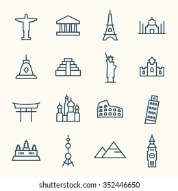 World landmarks line icon set