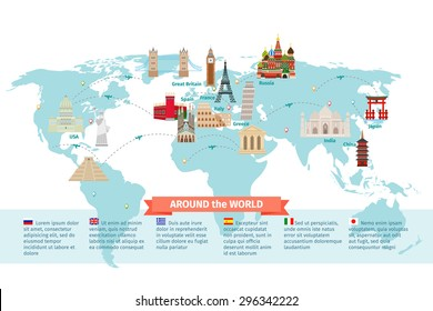 World landmarks on map. Kremlin and Eiffel and Leaning tower, China and Japan and India. Vector illustration