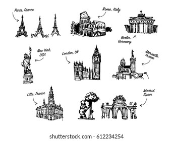 World landmarks outline icons, abstract vector set - France, Germany, USA, Spain, UK. Spain vector drawing. Germany vector. Italy vector