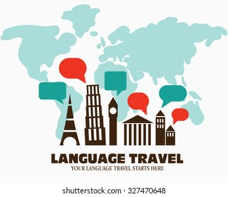 """World landmarks over world map. Logo icon - Illustration language travel. Language poster design with diversity famous monuments and speech bubbles. Inscription """"Your language travel starts here """"."""