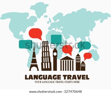 World landmarks over world map logo stock vector royalty free world landmarks over world map logo icon illustration language travel language poster design gumiabroncs Images