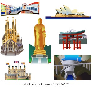 World Landmarks Set 4. Vector icons, isolated. Rialto Bridge, Venice. Famous cathedral. Barcelona. The statue of Buddha, China. Tower in London. Opera house. Hoover Dam, USA. Torii gate, Japan