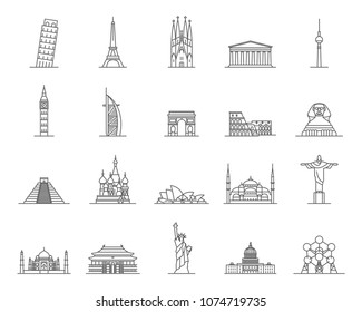 World Landmarks Signs Black Thin Line Icon Set Include of Monument, Tower, Statue, Building and Temple. Vector illustration of Icons