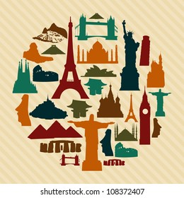 World landmarks silhouettes elements set. Vector file layered for easy manipulation and custom coloring.