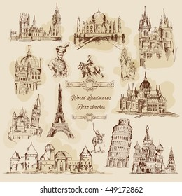 World landmarks sketch sepia graphics vintage icons set isolated vector illustration
