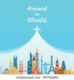 World landmarks. Travel and tourism background. Vector flat illustration
