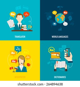 World languages translator interpreter 4 flat  icons composition with computer electronic mobile dictionaries abstract  isolated vector illustration