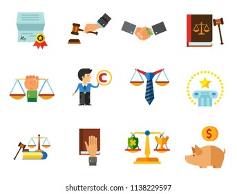World of Law Icon Set. Copyright Hand With Gavel Scales Law Concept Scales With Cup And Shield Corruption Civil Rights Business Law Piggy Bank Lawyer Sign Law Shield Justice Patenting